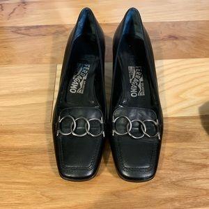 Ferragamo black gancini loafer, size 7